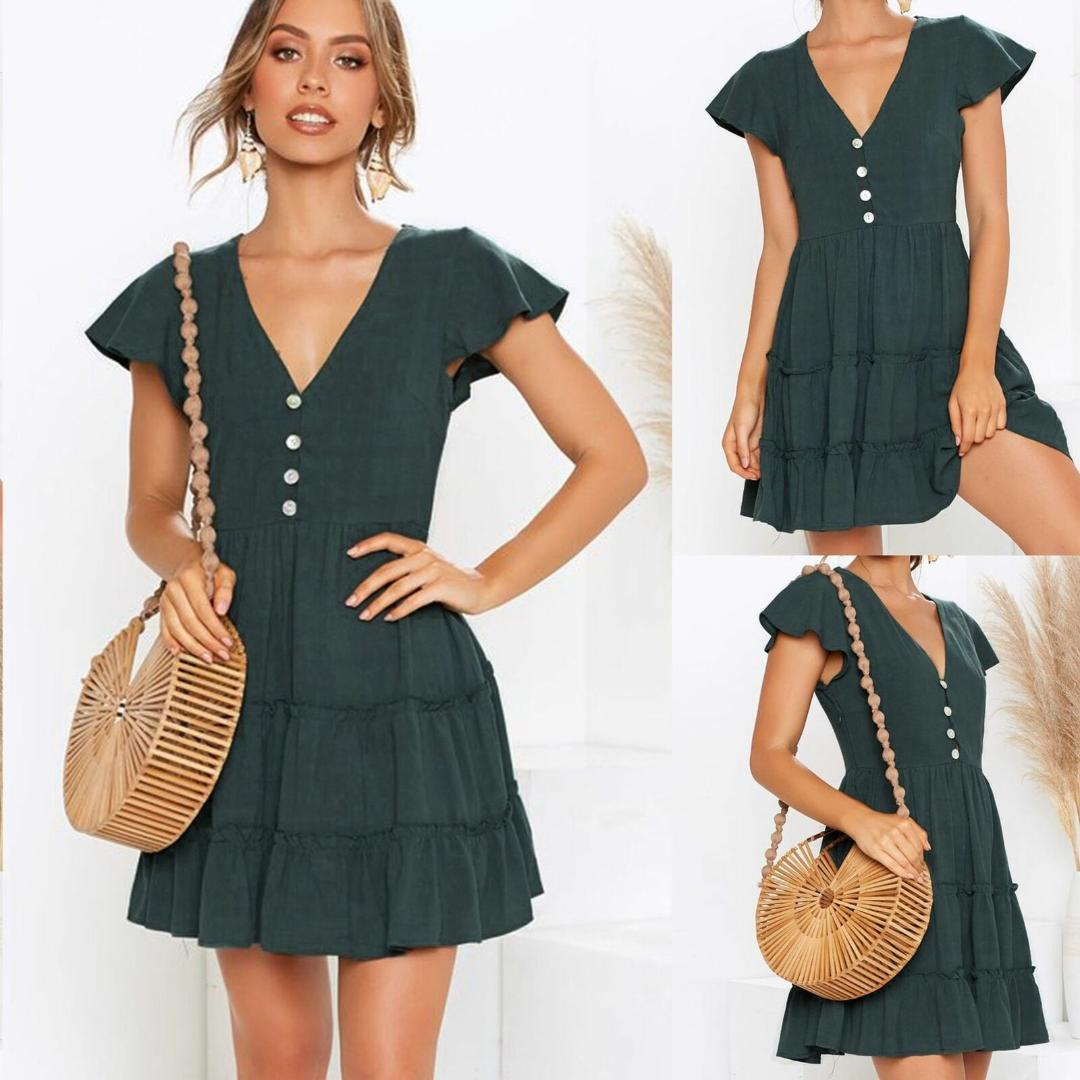 Women Summer V-Neck Short Sleeve Mini Dress Ladies Sexy Split Evening Party Button Solid Green Dresses