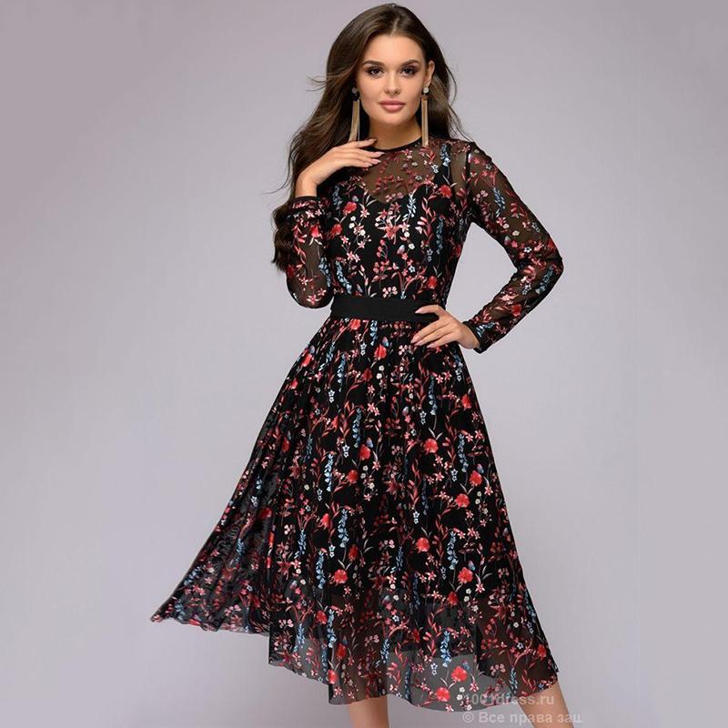 62de566f236 Sexy Women Floral Embroidery knee-length Dress Sheer Mesh Summer Boho  A-line Dress See-through Black 2018 Vestidos