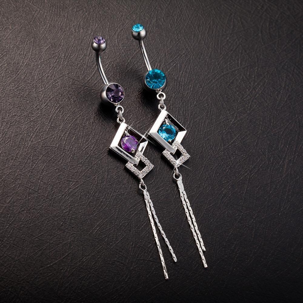 Gioielli piercing sexy in acciaio chirurgico Piercing all'ombelico blu viola argento Otto parole Anello ciondolo a forma di pancia donna