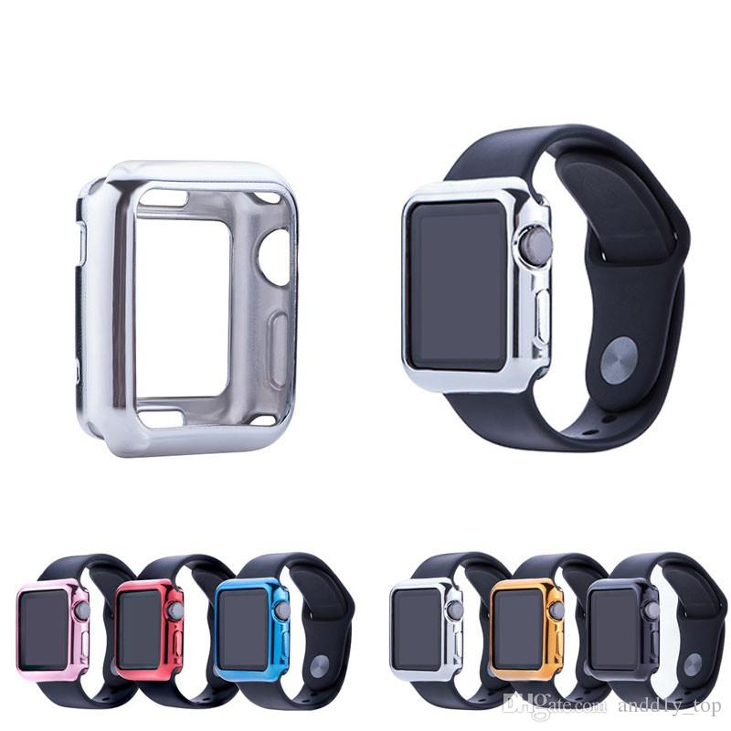 best sneakers ffeb5 f043e Plating TPU Case for Apple Watch Series 3/2/1 38mm 42mm Cover Case  Anti-drop Frame for iWatch 3 Cases Gold Silver Color