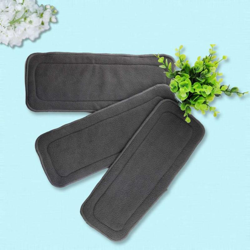 5Pcs/Set Reusable 4 Layers Of Bamboo Charcoal Insert Soft Baby Cloth Nappy Diaper Use Water Absorbent Breathable Diaper