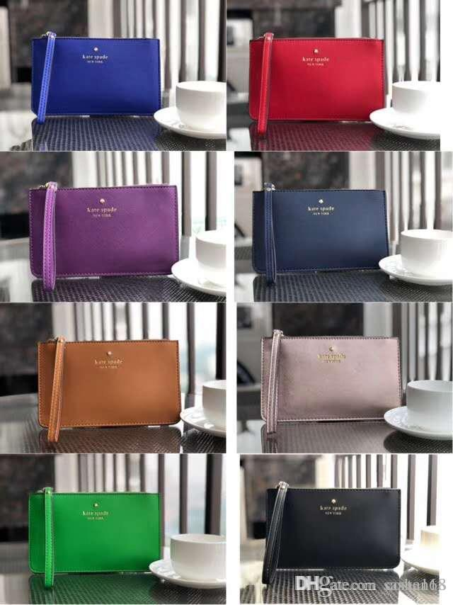 kat Brand New leather wallets wristlet women purses clutch bags zipper Card bag with free gift wristlet women coin purses clutch bags zippe