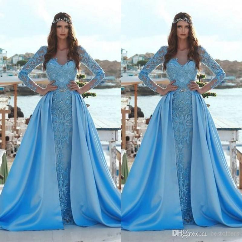 a287ca1e261 2019 Modest Blue Mermaid Prom Dresses With Detachable Train Long Sleeve 3D  Floral Appliques Sequin Arabic Formal Evening Gowns BC0638 Childrens Prom  Dresses ...