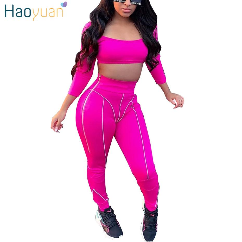 95d8f2037026 2019 HAOYUAN Fluorescent Striped Reflective Tracksuit Sexy Set Women Club  Outfits Crop Top And Pant Sweat Suits Matching Sets From Yyliang, $39.05 |  DHgate.