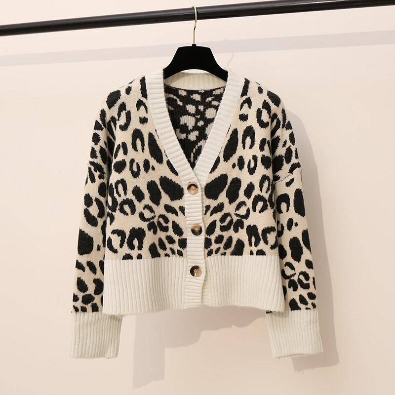 52fbbb22d94f 2019 Vintage Leopard Print V Neck Cardigans Women Single Breasted Short  Sweater White/Brown Soft Christmas Sweater From Chikui, $36.79 | DHgate.Com