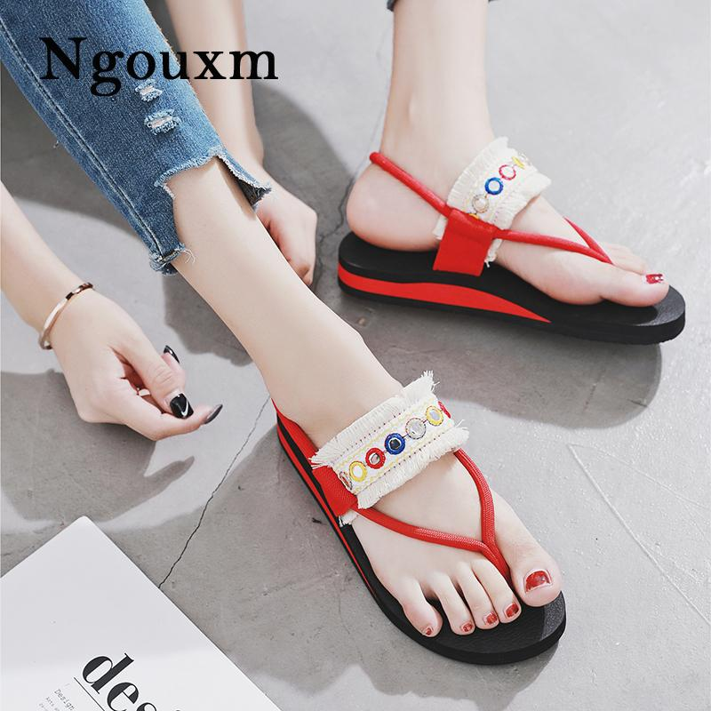 cca73104562a81 Ngouxm Hot Fashion Woman T Strap Clip Toe Sandals 2018 Rome Solid Beach  Casual Lady Flip Flop Fabric Slip On Flat Sandals Female Saltwater Sandals  Designer ...