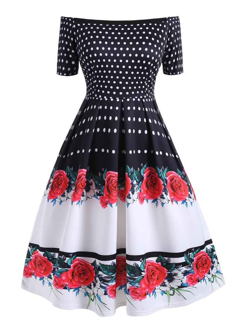 Wipalo Plus Size Polka Dot Vintage Dress Women Summer Pin Up ...