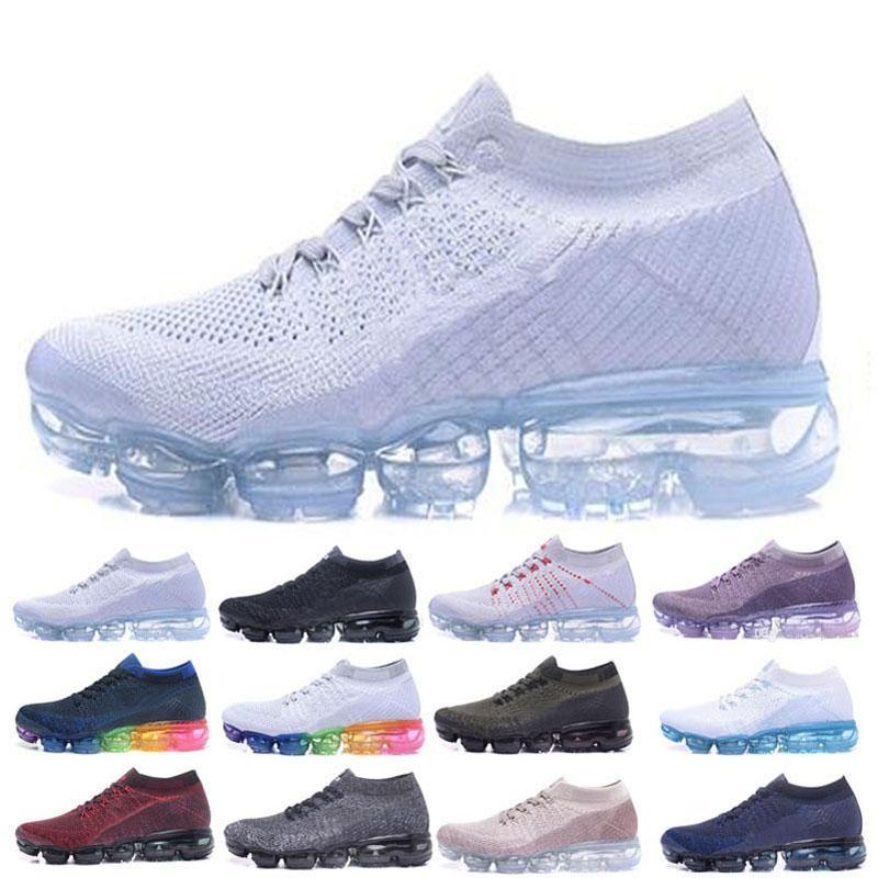 31ac5f8568bf 2019 Vapor Running Shoes Designer Shoes Sneakers Air Cushion Knit Black  White Mens Shoes Womens Trainers Casual Hiking Jogging Outdoor Sports Hot  From ...