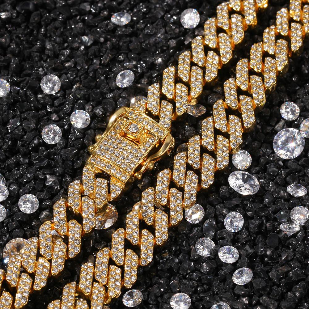 12mm Hip Hop Full Rhinestone Paved Bling Iced Out Geometric Rhombus Cuban Link Chain Necklace for Mens Rapper Jewelry