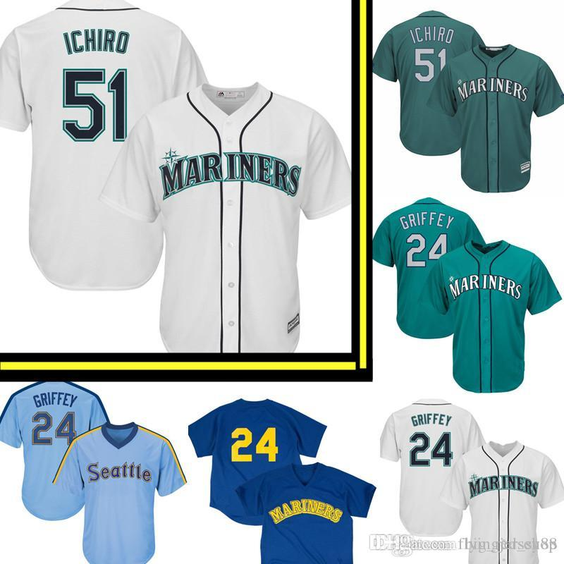 7413285beb 2019 Seattle 51 Mariners Ichiro Suzuki Majestic Home Official Cool Base  Player Jersey White Green Embroidery Baseball Jerseys 24 Ken Griffey Jr.  From ...