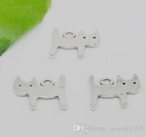 200pcs/lot Tibetan Silver Alloy double sided Cat Charms Pendants For diy  Jewelry Making findings 12x14mm
