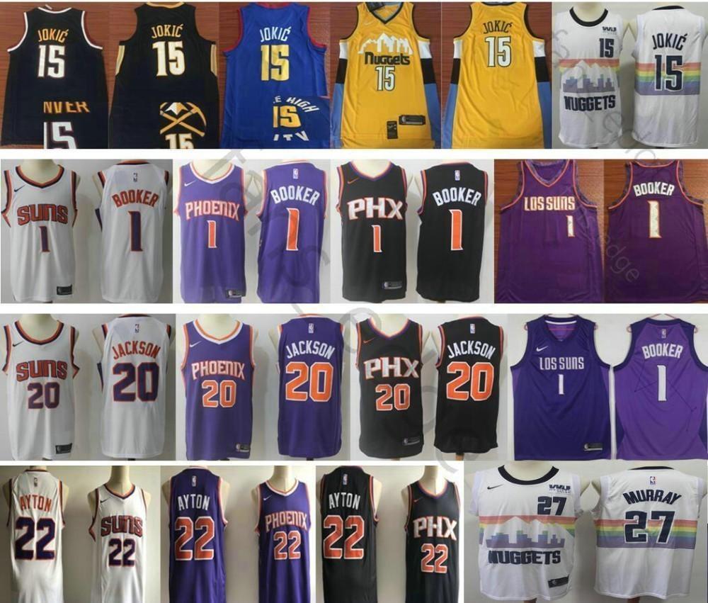 6fea82367296 2019 Denver 27 Jamal 15 Nikola Murray Jokic Nuggets Jersey Suns 1 Devin 20  Josh Booker Jackson 22 DeAndre Men Basketball Ayton Jerseys From  New jersey store ...