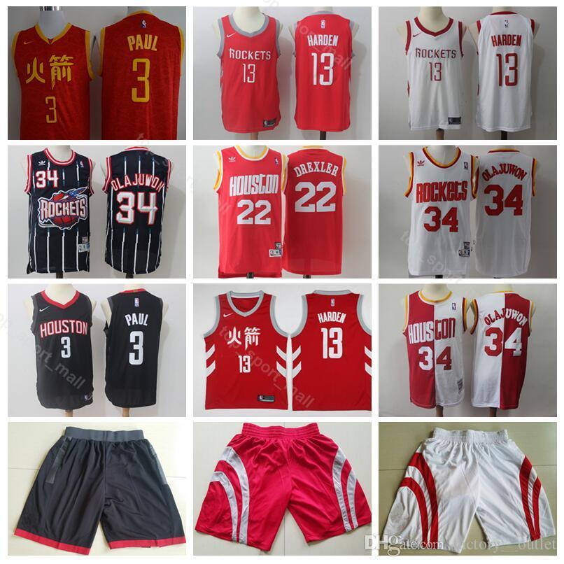 Chinese Edition City James 13 Harden Jersey Men Short Houston Basketball Rockets  Chris 3 Paul 22 Clyde Drexler 34 Hakeem Olajuwon UK 2019 From Vip sport a6c0e70a0