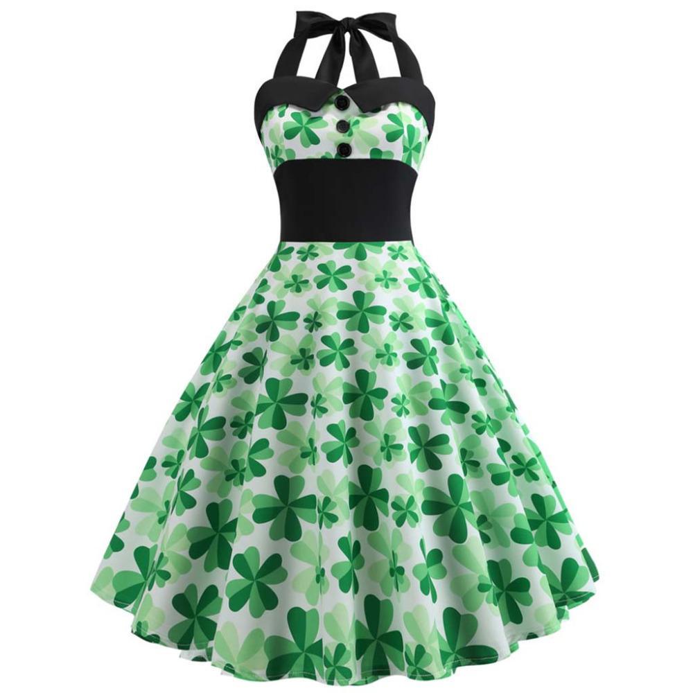 34d3172a58e7 Fashion Summer Dresses Women Halter Green Clover Print Sleeveless Women S  Party Night Dress With Large Swing Dress L19125 Summer Dress For Women  Women ...