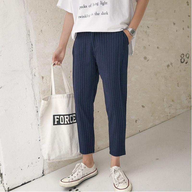 1b78f38df 2018 Nuevos hombres de la moda Juventud de Japón Estilo suelto Rayas de  gran tamaño Pies Japoneses Retro Descuento Pantalones informales