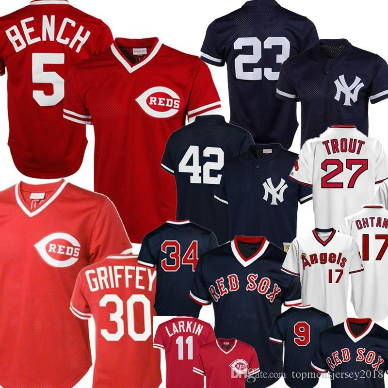 Retro Nueva York # 23 Don Mattingly Yankees Mariano Rivera 42 Cincinnati 5 Rojos Johnny Bench Ken Griffey Jr. Barry Larkin Ángeles Mike Trout