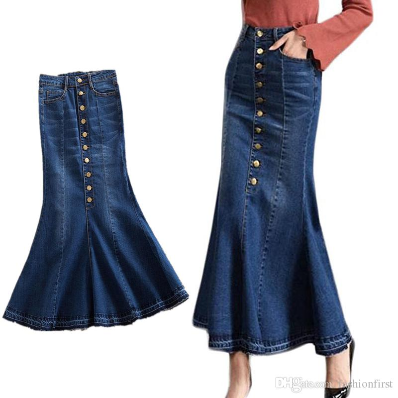 0bc04aed95 2019 Jeans With Multiple Row Buttons Slim Elastic Jeans Fishtail Skirt High  Quality Long Hippie Mermaid Denim Skirt From Fashionfirst, $21.52    DHgate.Com
