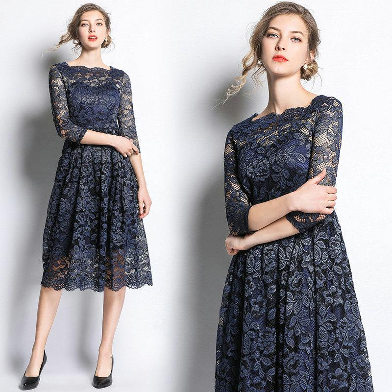 2cc4517f4c1 2019 New Arrival Lace Dress For Women Hollow Sleeve Big Swing Dress Fashion  2019 Spring Summer Dresses Prom Evening Dress From Wrjmike