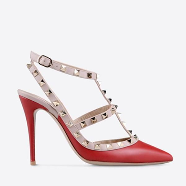 Designer Pointed Toe 2-Strap with Studs high heels matte Leather rivets Sandals Women Studded Strappy Dress Shoes valentine high heel 6dfs