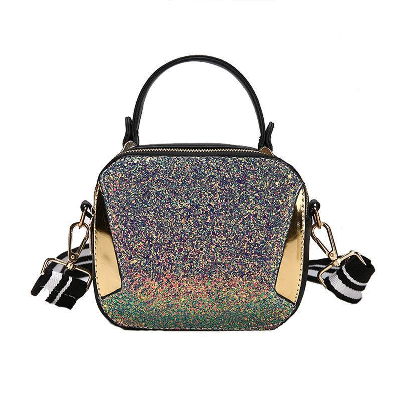 good quality Summer Small Handbags Fashion Rainbow Sequin Shoulder Bags Panelled Hand Bag For Women Striped Wide Shoulder Straps Phone