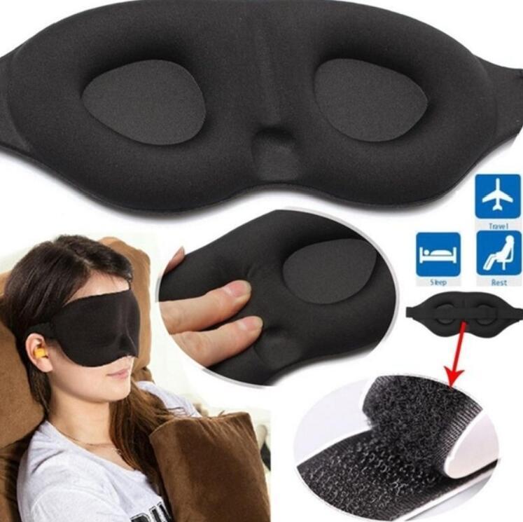 3D œil masque de voyage sommeil reste aide soft éponge ombre blinder bandeau bouchons d/'oreille