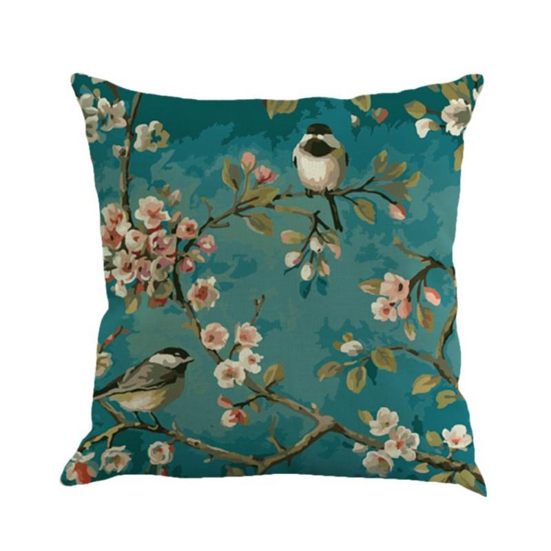 European Garden Cushion Cover Blue Painting Bird Cherry Printing Linen Decorative Throw Pillow Cushion Cover For Office Chair