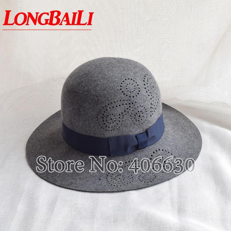 cc548399cf9 Winter Grey Wide Brim Wool Felt Hats For Women Chapeau Round Top Sun ...