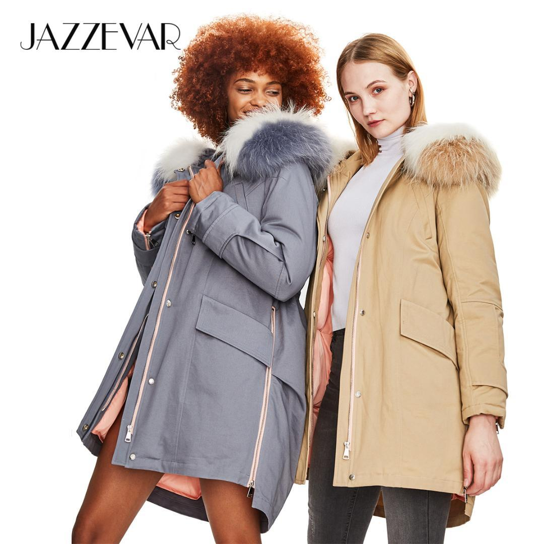 ed05de71cd0 2019 JAZZEVAR 2018 Winter New Fashion Safari Style Women S Casual Down  Jacket Raccoon Fur Collar Zipper Coat Hooded Parka Top Quality From  Geraldi