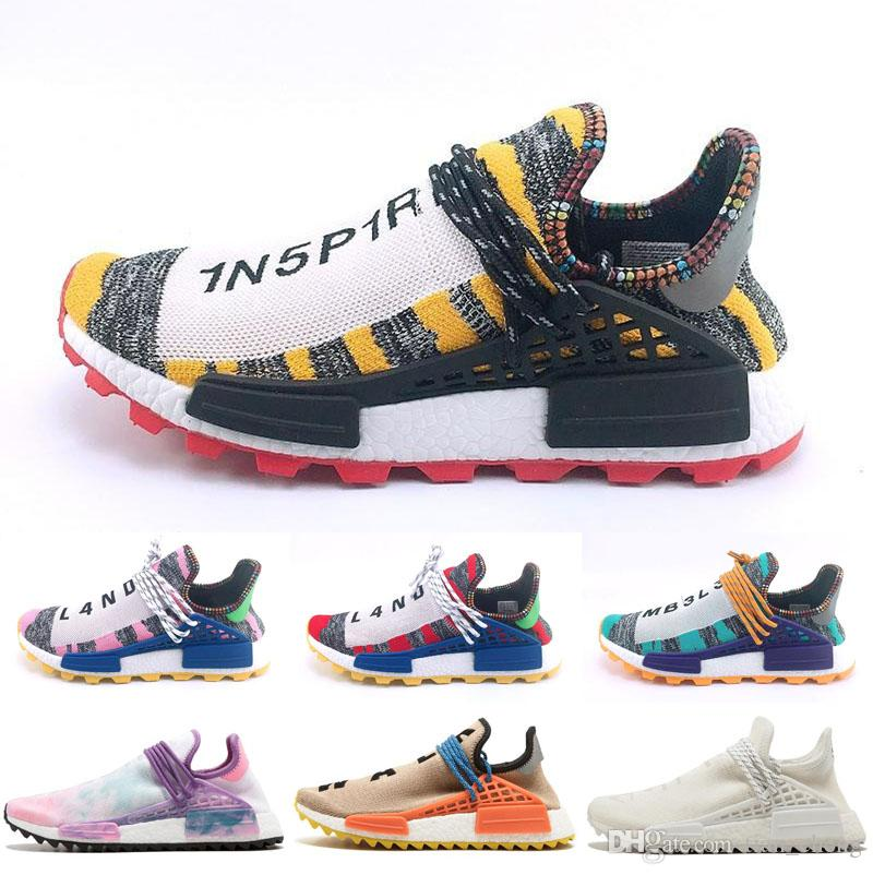 7fff59768 2019 Human Race Running Shoes Pharrell Williams Hu NMDs Trail Oreo Nobel  Ink Black Nerd Mens Women Designer Walking Sneakers Mens Trail Running Shoes  ...