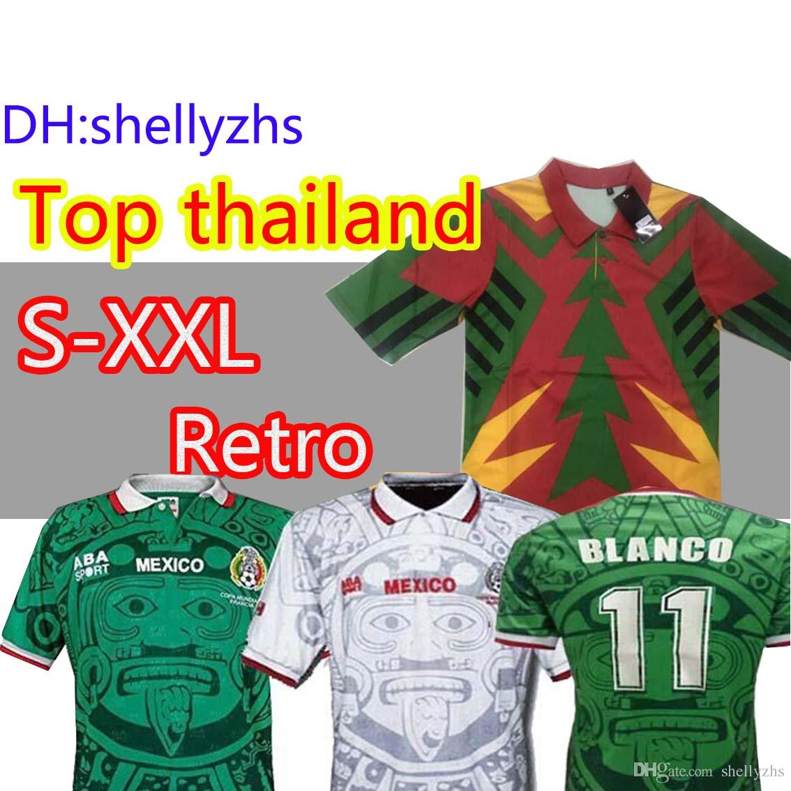 b5d7a2bd3b2 2019 1998 MEXICO RETRO BLANCO Hernandez Blanco Campos Soccer Jerseys  Uniforms HOME Goalkeeper 1994 Football Jerseys Shirt Camiseta Futbol S XXL  From ...