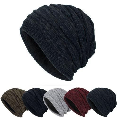 9172de9e033 Men Unisex Knitted Warm Winter Oversized Slouch Beanie Hat Cap ...