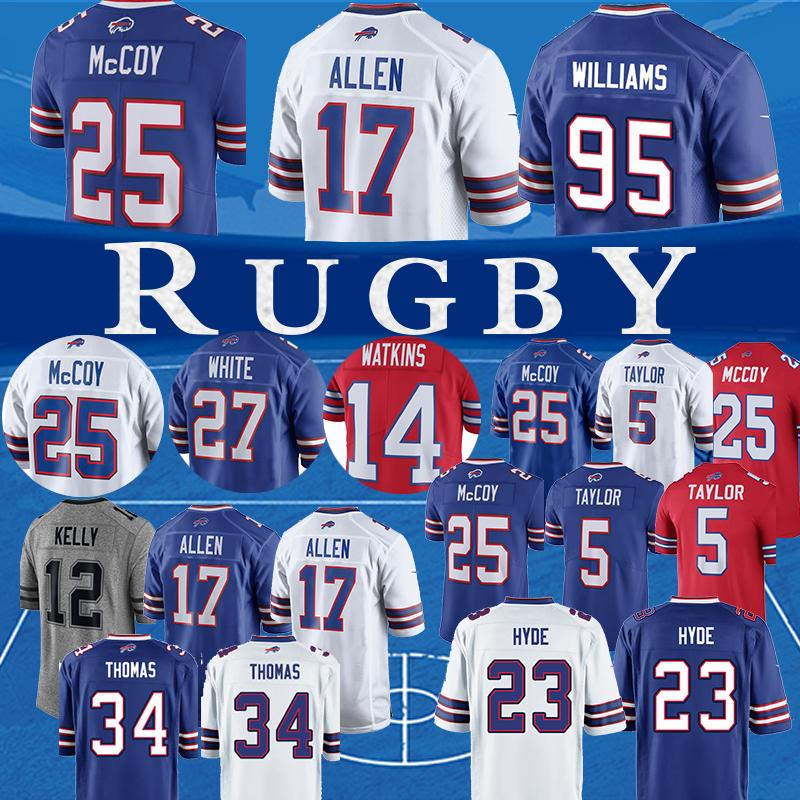 new product f4b6d cfe4a 17 Josh Allen Buffalo Jersey Bills 49 Tremaine Edmunds 25 LeSean McCoy 27  Tre'Davious Blanc 95 Williams 99 Poyer top
