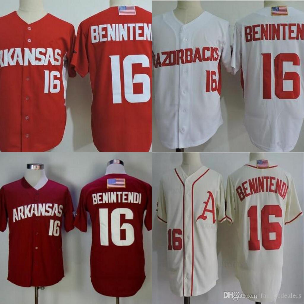 timeless design f7c96 c891b Andrew Benintendi #16 Arkansas Razorbacks NCAA College Baseball Jersey  Stitched Custom Any Name Any Number Men Jersey S-4XL Free Shipping