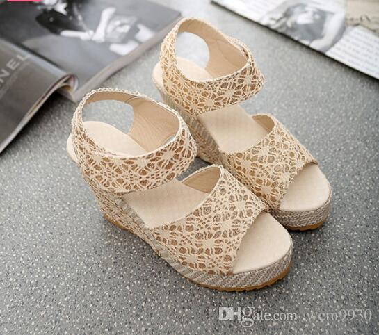 bb2be5195 Women Sandals 2019 New Summer Fashion Lace Hollow Gladiator Wedges Shoes  Woman Slides Peep Toe Hook   Loop Solid Lady Casual Shoes For Women Nude  Wedges ...