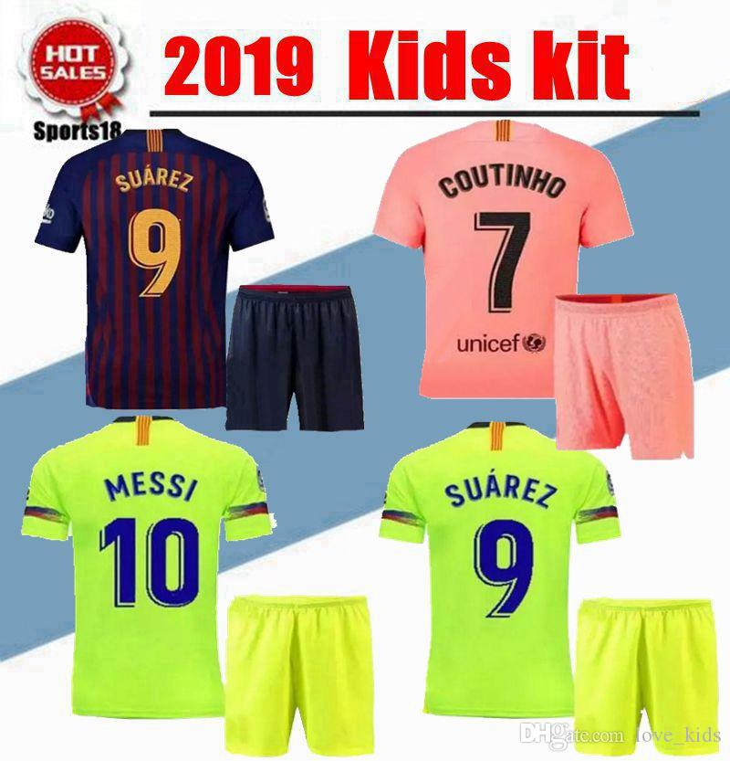 big sale 1dad0 082a5 2019 2020 Kids kit barcelona MESSI Soccer Jersey youth BOYS KIT COUTINHO  Soccer Shirt O.DEMBELE SUAREZ RAKITIC 3rd Football kits Uniform