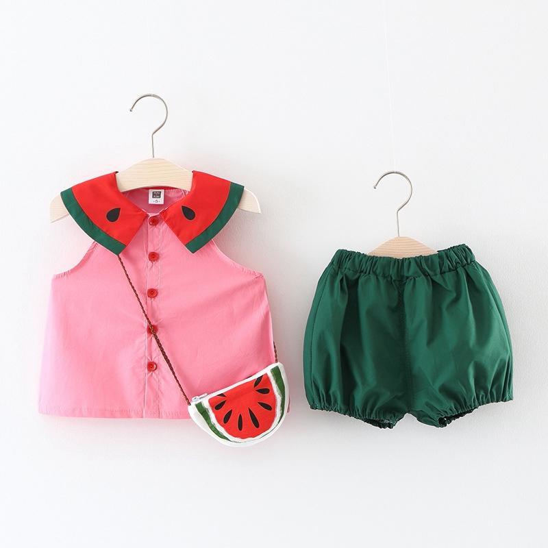 ae94bae3410e 2019 Girls Clothing Sets New Summer Girl Fruit Watermelon Pattern ...