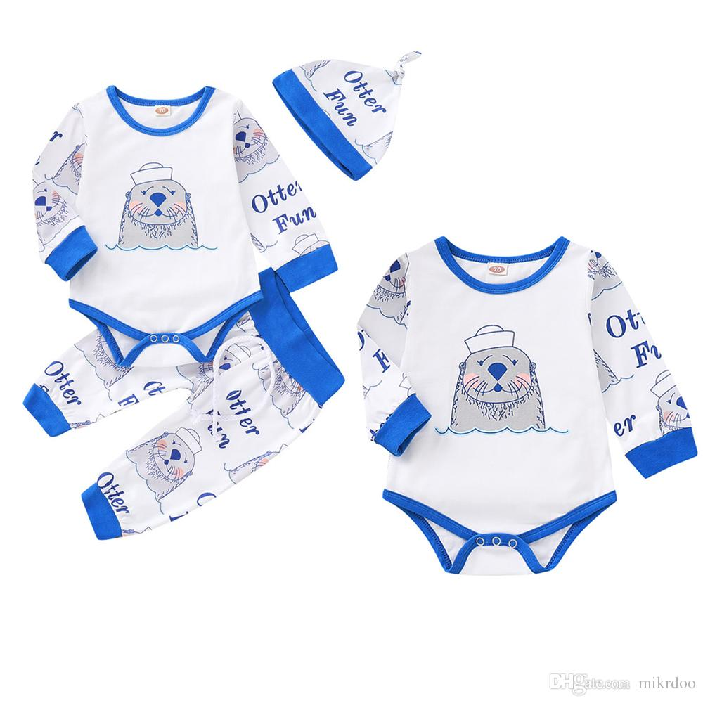 20c0ab4eb79c0 Mikrdoo Kids Toddler Baby Boys Girl Clothes Set Cartoon Animal Letter  Printed Long Sleeve Romper Top Long Pant With Hat Outfit