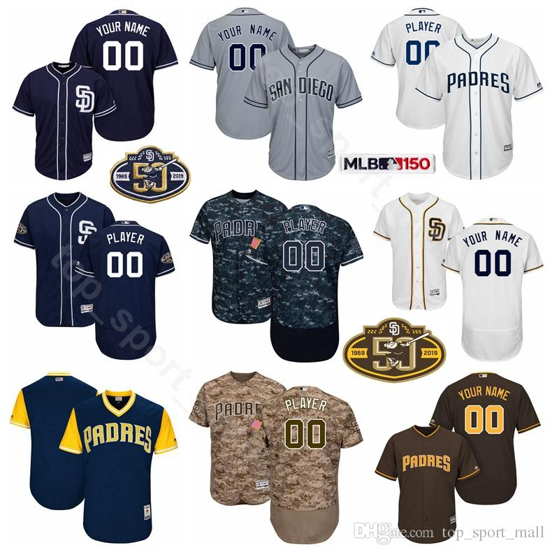 newest 1415a 7d514 San Diego Baseball Padres 50th anniversary 10 Hunter Renfroe Jersey 7  Manuel Margot 32 Franmil Reyes 46 Eric Lauer 25 Nick Margevicius