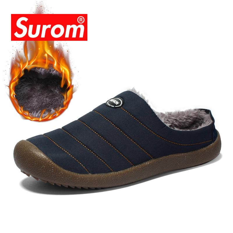 c9f51f297c68f SUROM Winter Home Slippers Plush Warm Flats Men Shoes Casual Comfortable  Cotton Slippers Plus Big Size Male Shoes 37~48 Men s Casual Shoes Cheap  Men s ...