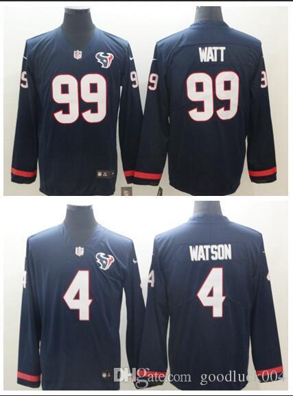 on sale 92025 c70f7 Men Women Texans Houston 99 J.J. Watt Jersey 4 Deshaun Watson Therma  American Football Long Sleeve Jersey