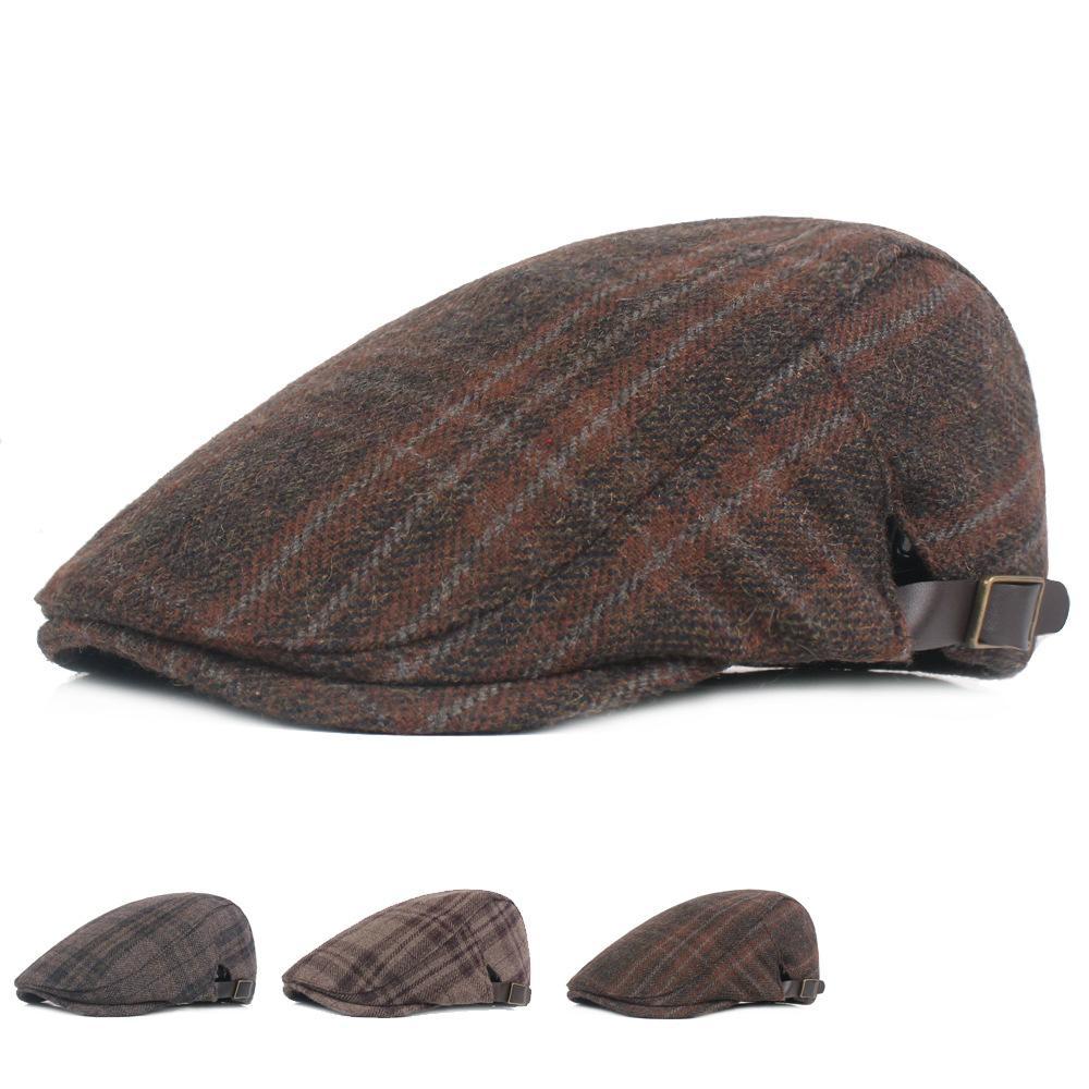 bafb0ef80ddf Boinas ajustables de lana a cuadros para hombres Gorra de golf Manejar Sun  Flat Newsboy Ivy Hat Acción de gracias Pom Pom Hat