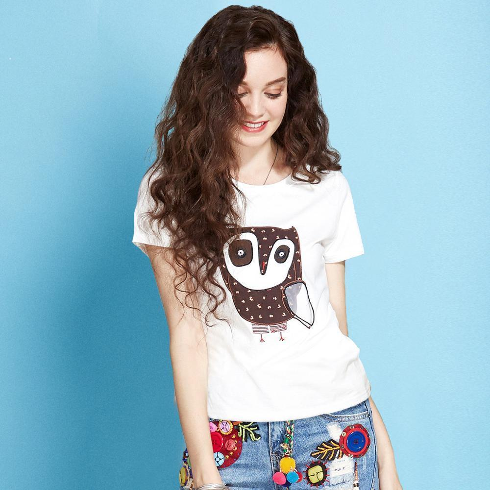 Artka 2018 Casual Owl Embroidery Summer Women T-shirt Short Sleeve Women Clothing T-shirt Ta10774x J190427