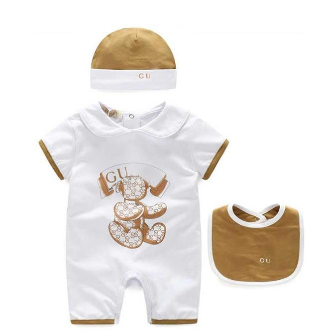 الأطفال الرضع مصمم الملابس بنين رسالة بذلة الوليد رومبير طفل الطفل قبعة + المريلة + رداء مجموعة فاخرة بنات الطفل مصمم الملابس