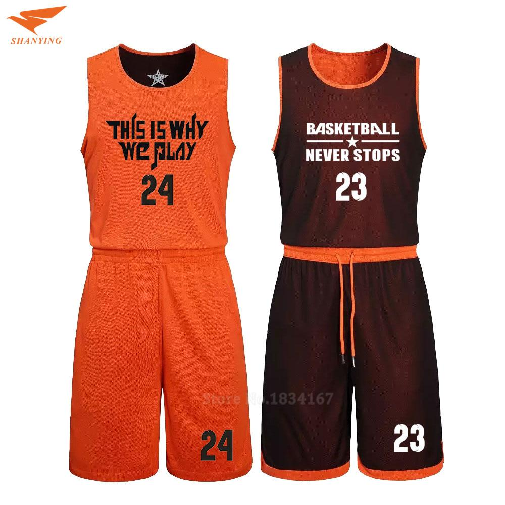 bd2756a8a2c2 2019 2017 Men Reversible Basketball Set Uniforms Kits Sports Clothes Double  Side Basketball Jerseys DIY Customized Training Suits C18122501 From  Shen8407