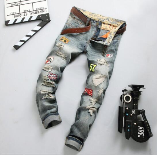 197e3e0f58e07 Compre Pantalones Vaqueros Rasgados De Diseñador Para Hombre Moda Recta  Slim Fit Hombre Adolescente Skateboard Rapper Hihop Jeans Pantalones Para  La Venta A ...