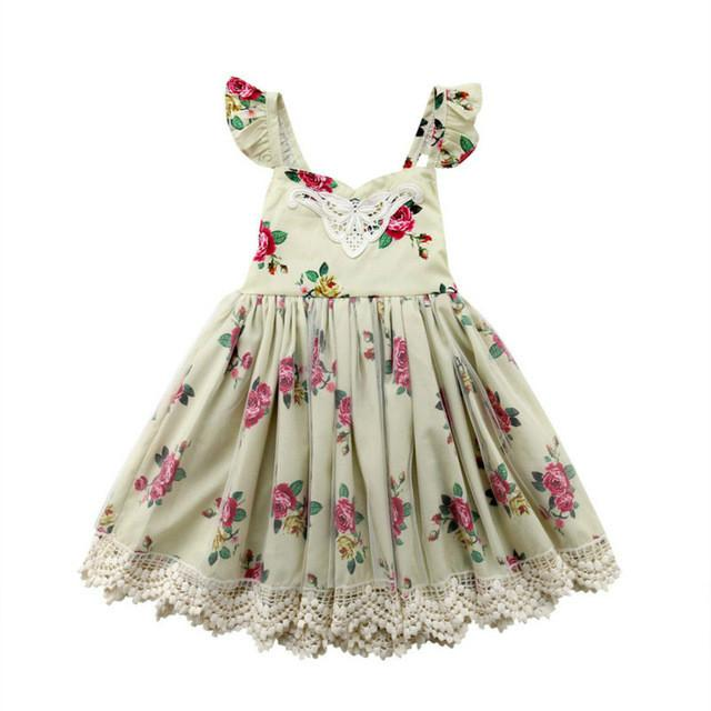 ca4e0ec33f8ef 2019 New Style Dress Girl Kids Floral Lace Tulle Dresses Girls Princess  Dress Spring Easter Little Girls Clothing