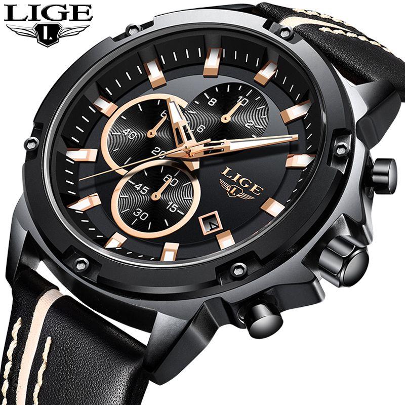 e27bd6cdef22 Compre LIGE Relojes Para Hombre Moda Cronógrafo Hombre De Primeras Marcas De  Lujo Reloj De Cuarzo Hombres De Cuero Impermeable Reloj Deportivo Relogio  ...