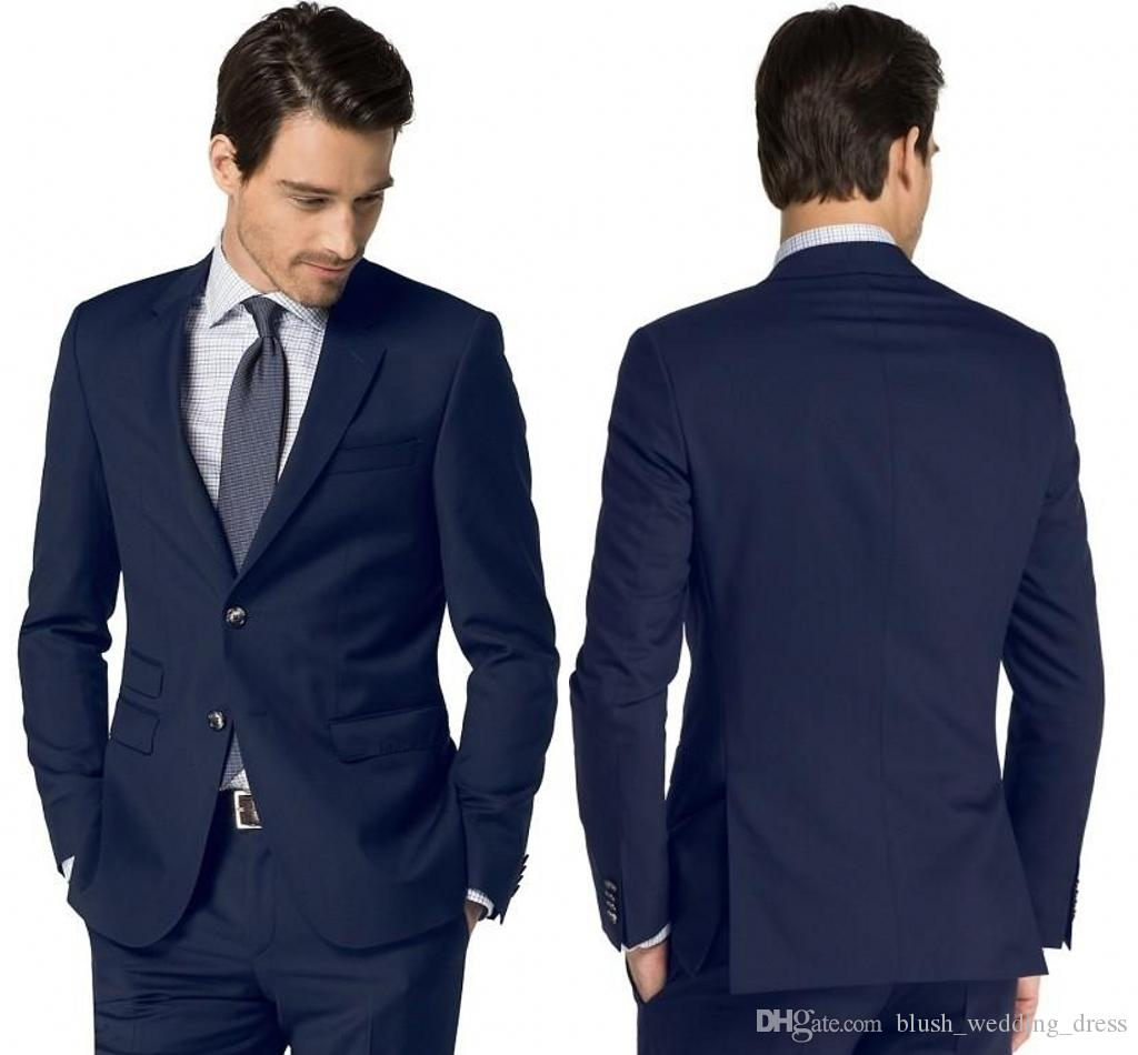Custom Made Quality Color Navy Business Formal Notched Lapel Tuxedos with Two Buttons Side Vent Evening Party Clothing Set (Jacket+Pants)
