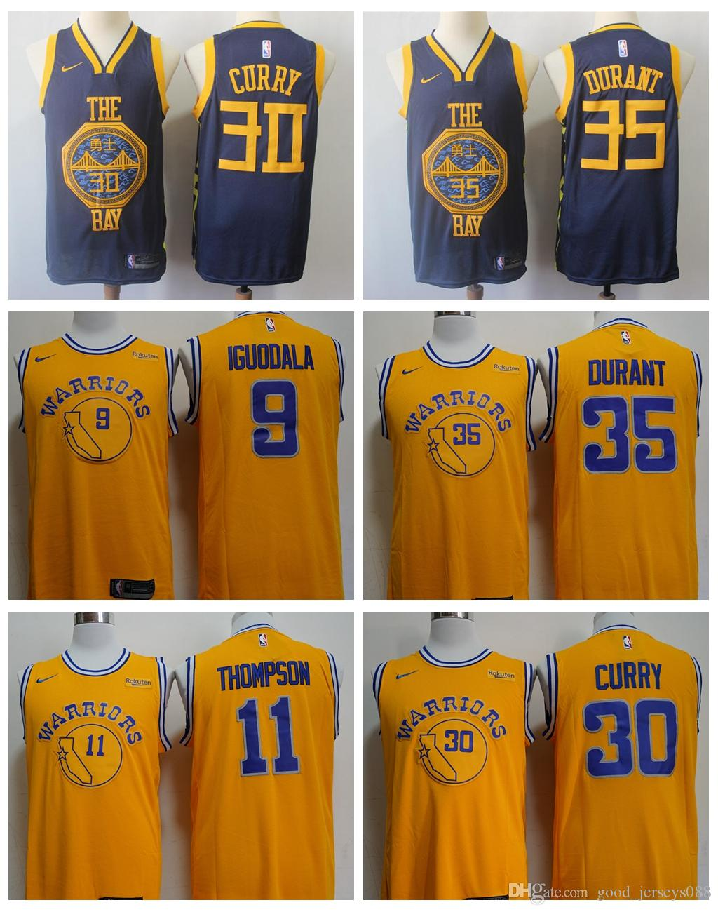 a46ab524d121 2019 Newest 2019 Golden State Basketball Warriors Jersey 35 Kevin Durant 30  Stephen Curry 11 Klay Thompson 9 Andre Iguodala Stitched Jerseys From  Sagala01