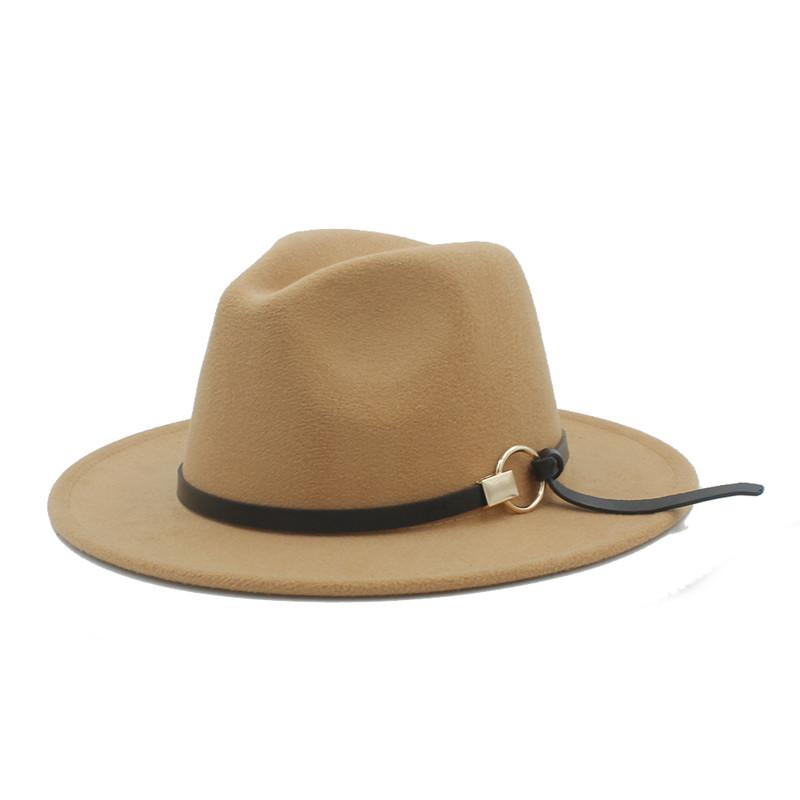 Wool Women Outback Fedora Hat Elegant Lady Wide Brim Jazz Church Godfather  Sombrero Jazz Cap Size 56 58CM Good Package Cowgirl Hats Fishing Hats From  ... 8cd048b6476